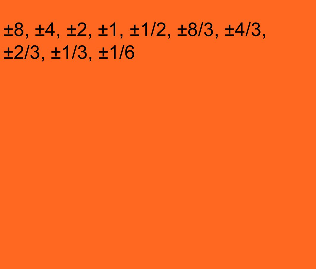 ±8, ±4, ±2, ±1, ±1/2, ±8/3, ±4/3, ±2/3, ±1/3, ±1/6