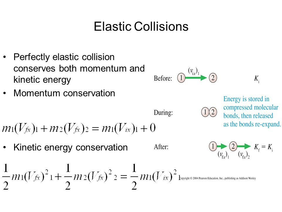 Elastic Collisions Perfectly elastic collision conserves both momentum and kinetic energy Momentum conservation Kinetic energy conservation