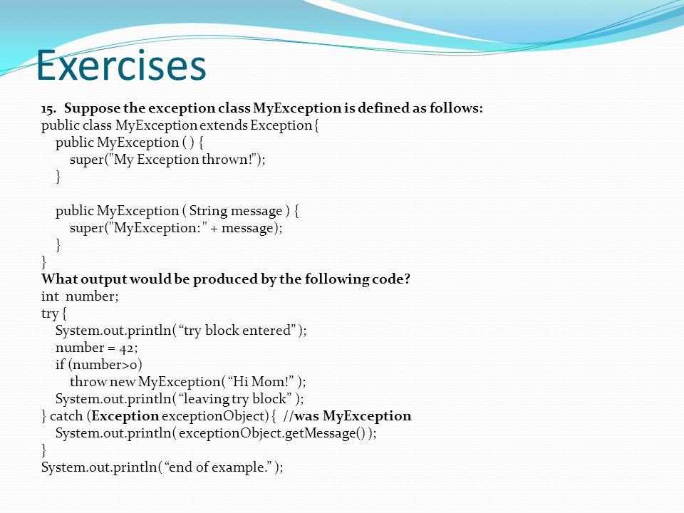 Exercises 15.