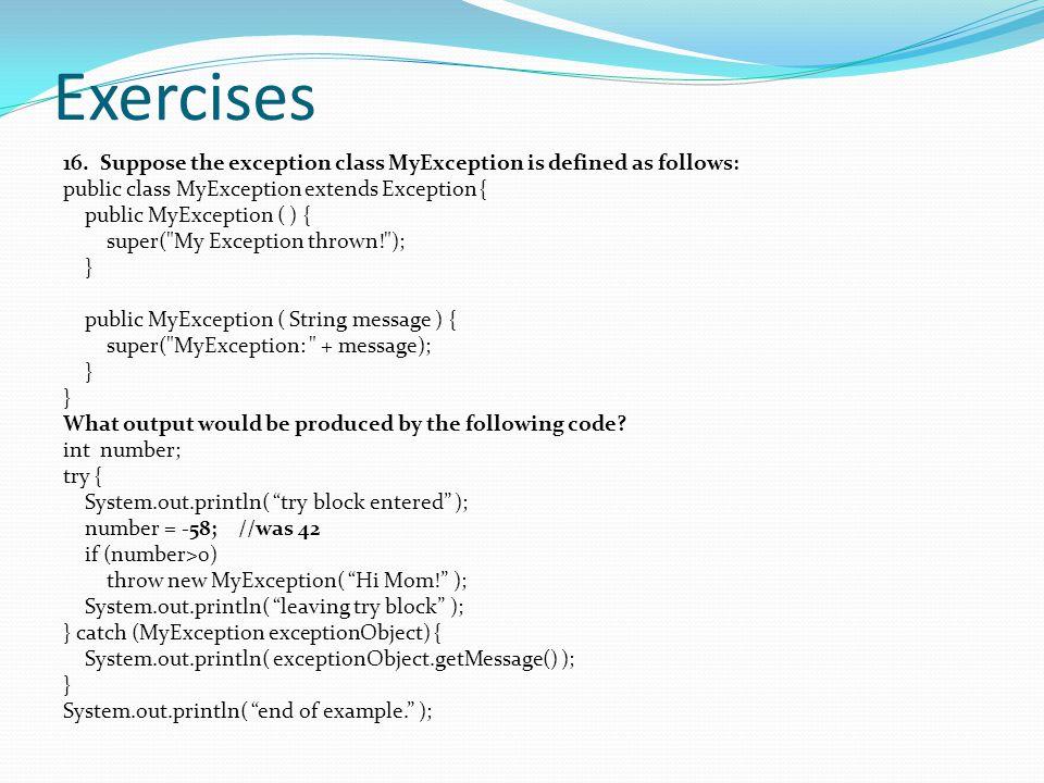 Exercises 16.