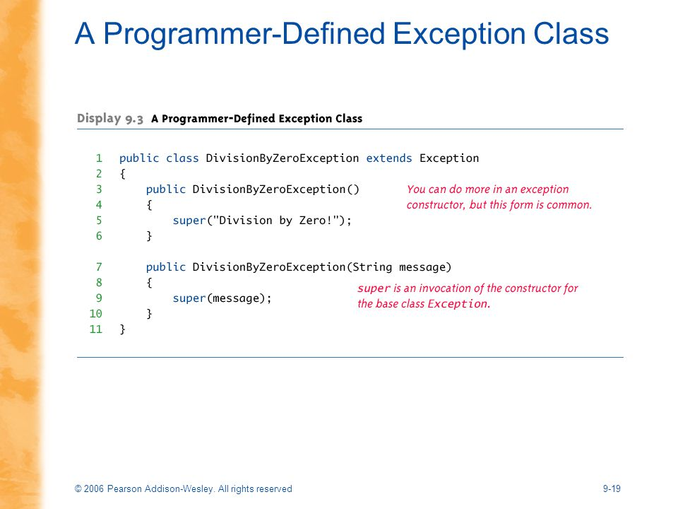 © 2006 Pearson Addison-Wesley. All rights reserved9-19 A Programmer-Defined Exception Class