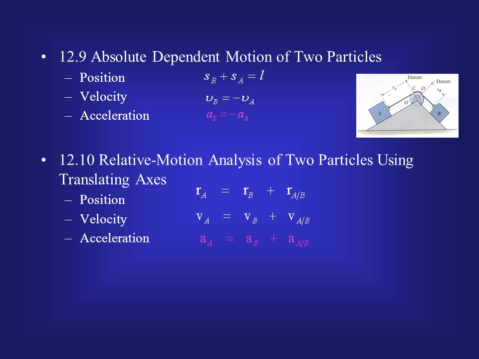 12.9 Absolute Dependent Motion of Two Particles –Position –Velocity –Acceleration 12.10 Relative-Motion Analysis of Two Particles Using Translating Ax
