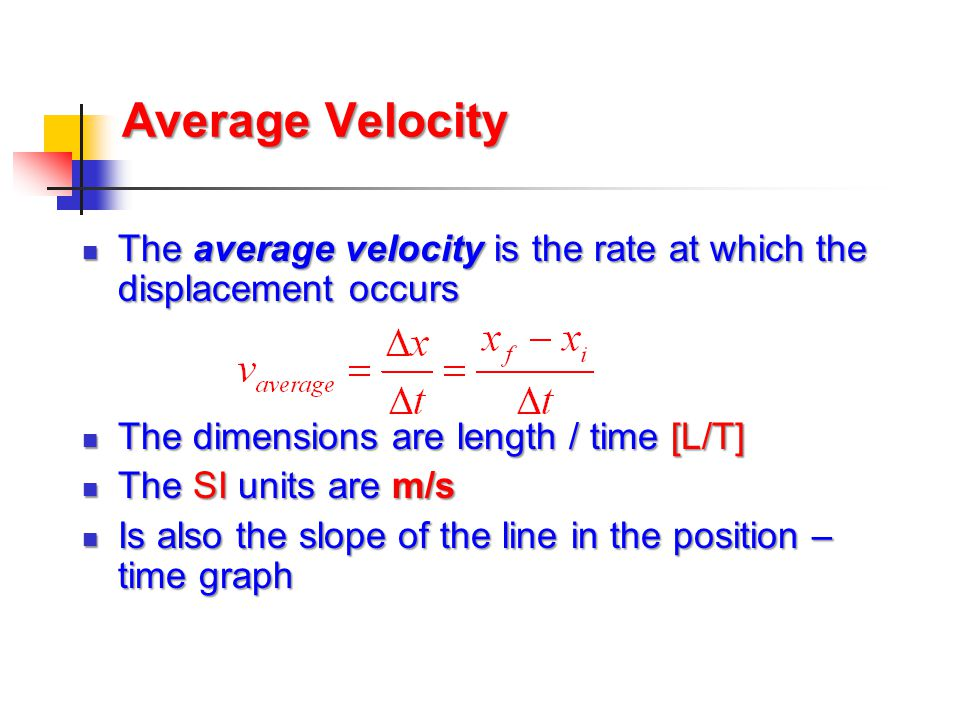 Average Speed  Speed is a scalar quantity  same units as velocity  total distance / total time  The average speed is not (necessarily) the magnitude of the average velocity