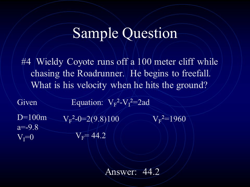 Sample Question #4 Wieldy Coyote runs off a 100 meter cliff while chasing the Roadrunner.