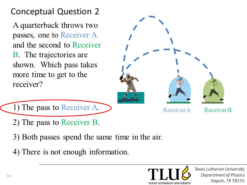 A quarterback throws two passes, one to Receiver A and the second to Receiver B. The trajectories are shown. Which pass takes more time to get to the