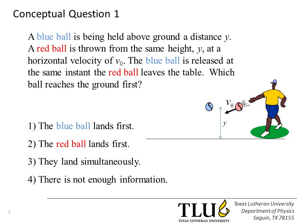 A blue ball is being held above ground a distance y.