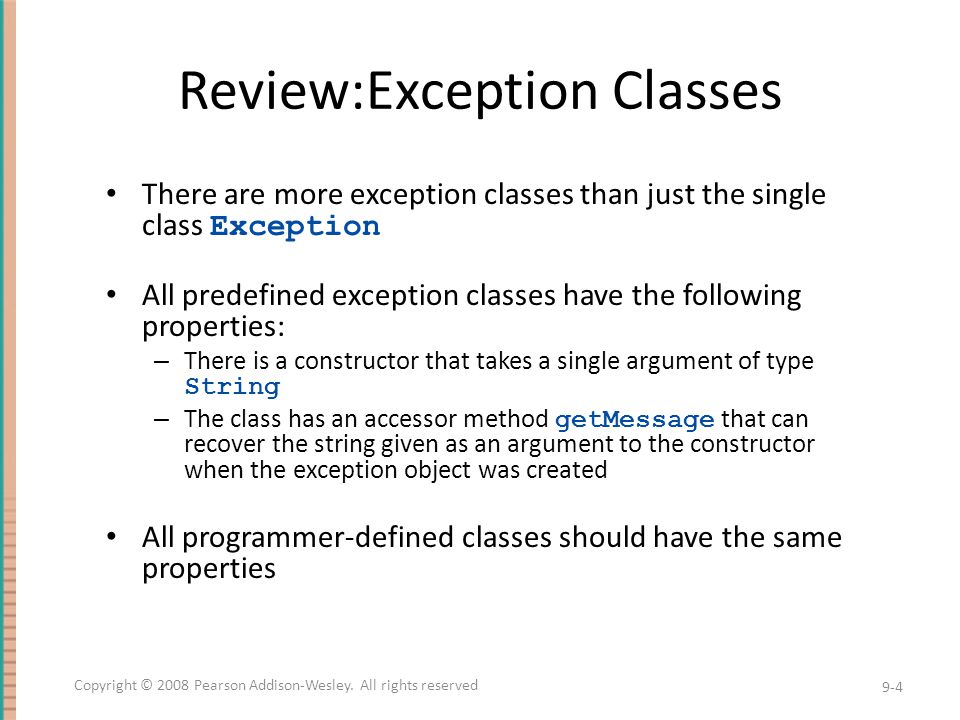 The finally Block The finally block contains code to be executed whether or not an exception is thrown in a try block – If it is used, a finally block is placed after a try block and its following catch blocks try {...