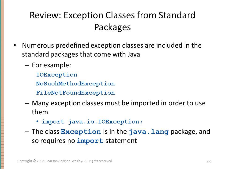 Using the getMessage Method...// method code try {...