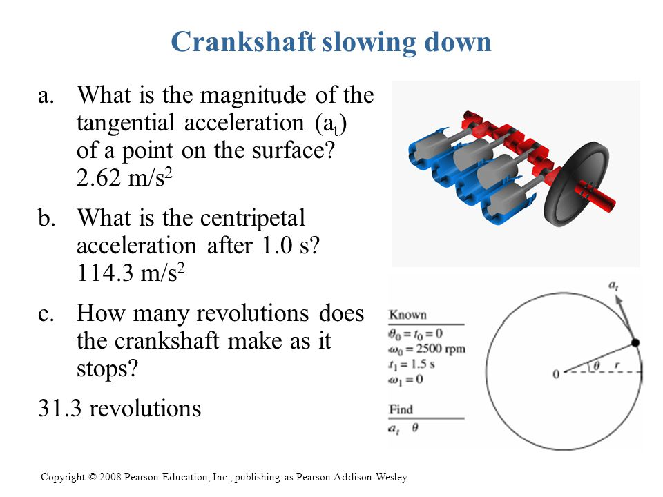 Copyright © 2008 Pearson Education, Inc., publishing as Pearson Addison-Wesley. Crankshaft slowing down a.What is the magnitude of the tangential acce