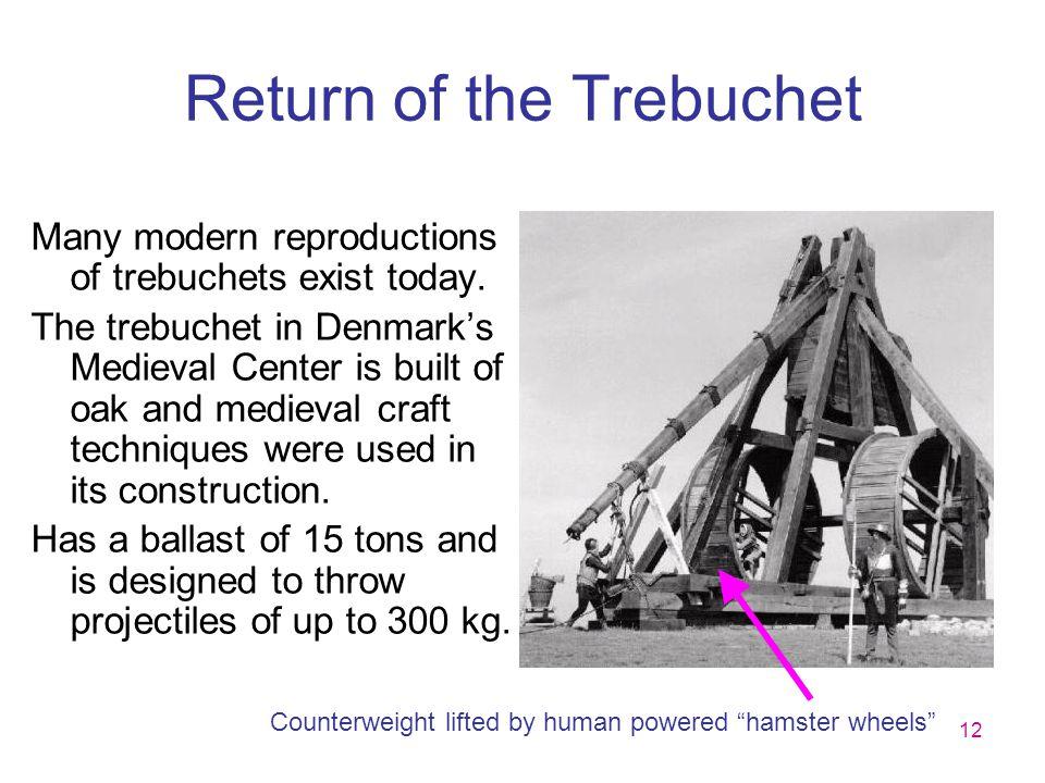 12 Return of the Trebuchet Many modern reproductions of trebuchets exist today. The trebuchet in Denmark's Medieval Center is built of oak and medieva