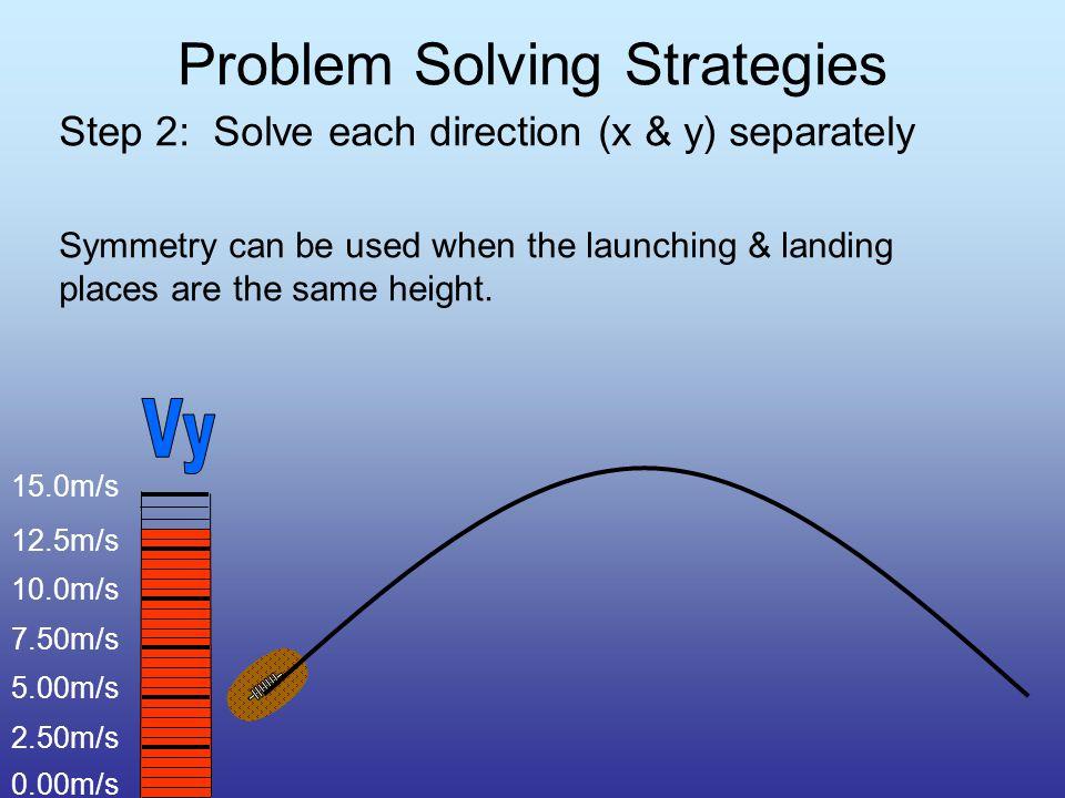 Problem Solving Strategies Step 1: Solve for the horizontal and vertical components (V 1x & V 1y ) V=27m/s V 1x = m/s V 1y = m/s Searching for x Searching for y