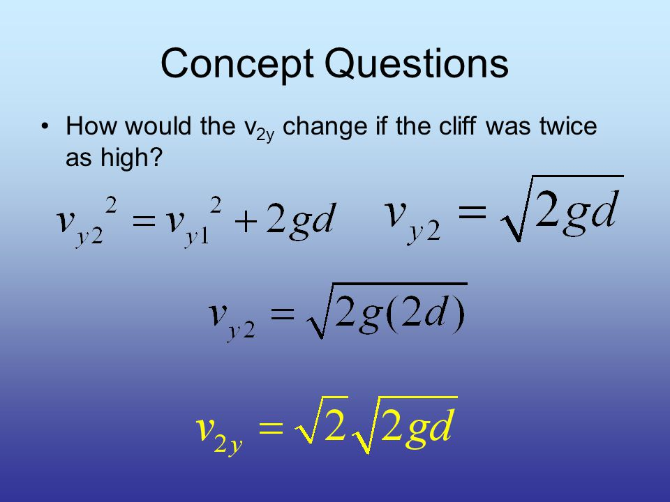 Concept Questions How would the v 2y change if the stone was thrown twice as fast.