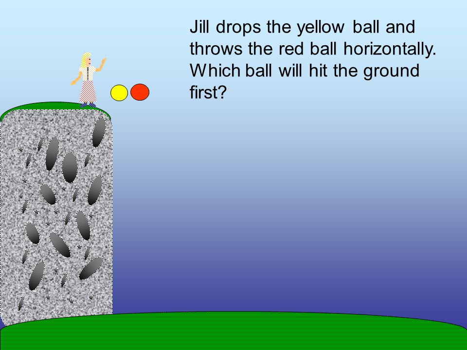 Jill drops the yellow ball and throws the red ball horizontally.