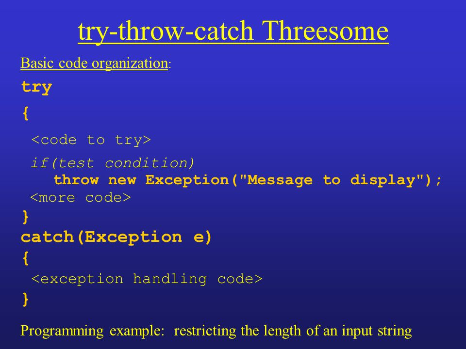 try-throw-catch Threesome Basic code organization : try { if(test condition) throw new Exception(