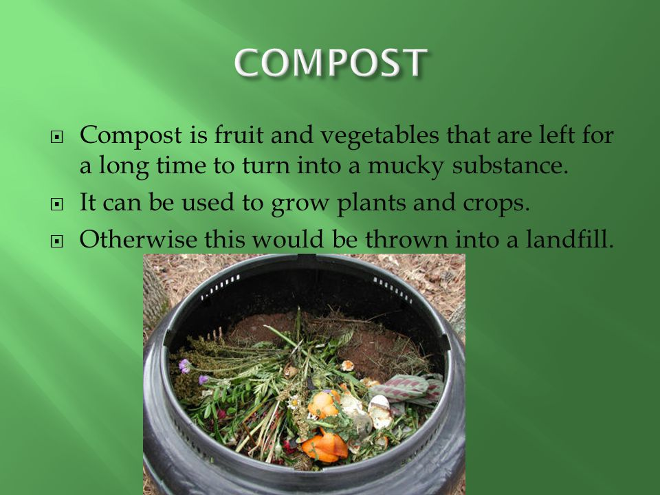  Compost is fruit and vegetables that are left for a long time to turn into a mucky substance.  It can be used to grow plants and crops.  Otherwise