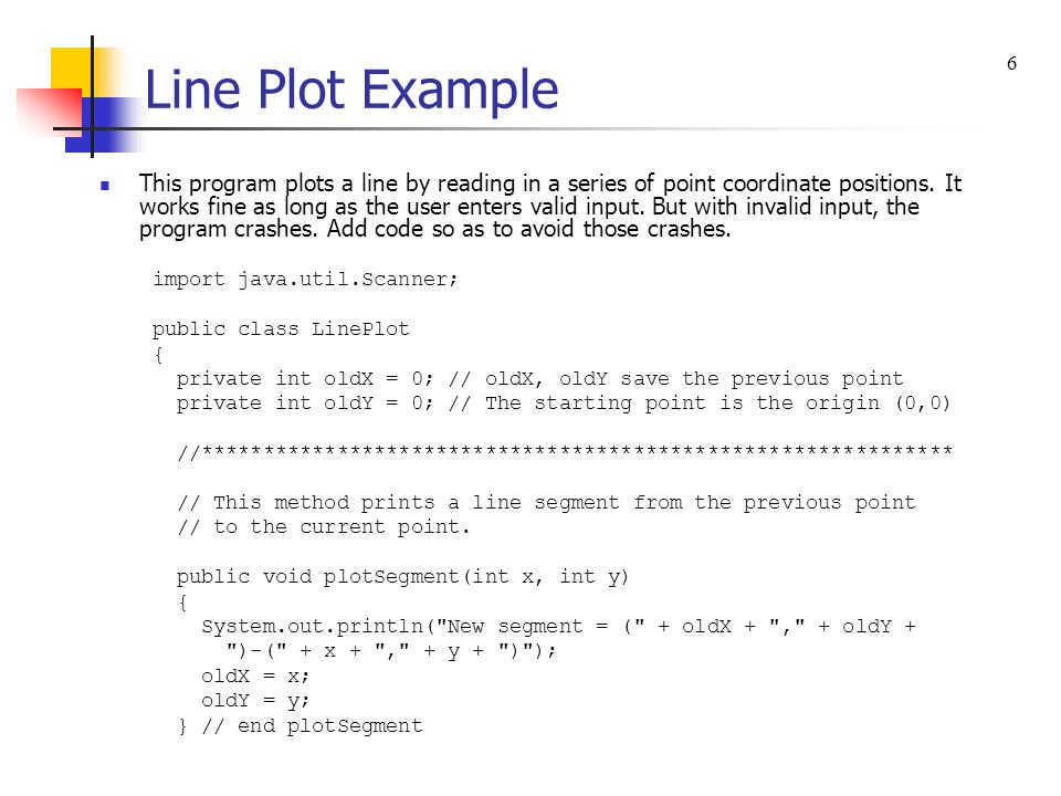 Line Plot Example This program plots a line by reading in a series of point coordinate positions.