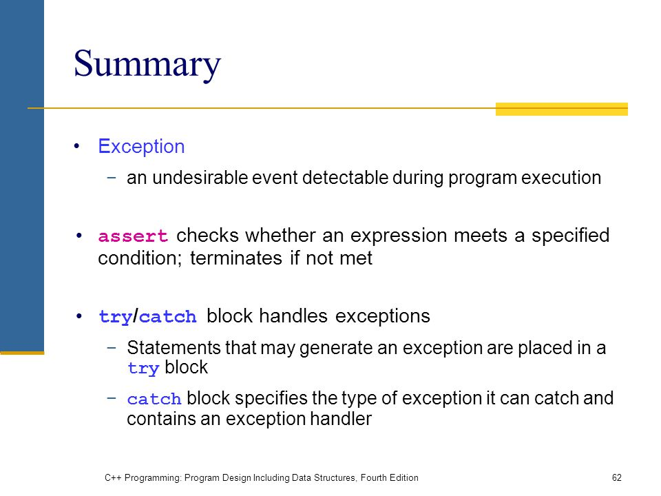 C++ Programming: Program Design Including Data Structures, Fourth Edition62 Summary Exception −an undesirable event detectable during program execution assert checks whether an expression meets a specified condition; terminates if not met try / catch block handles exceptions −Statements that may generate an exception are placed in a try block − catch block specifies the type of exception it can catch and contains an exception handler