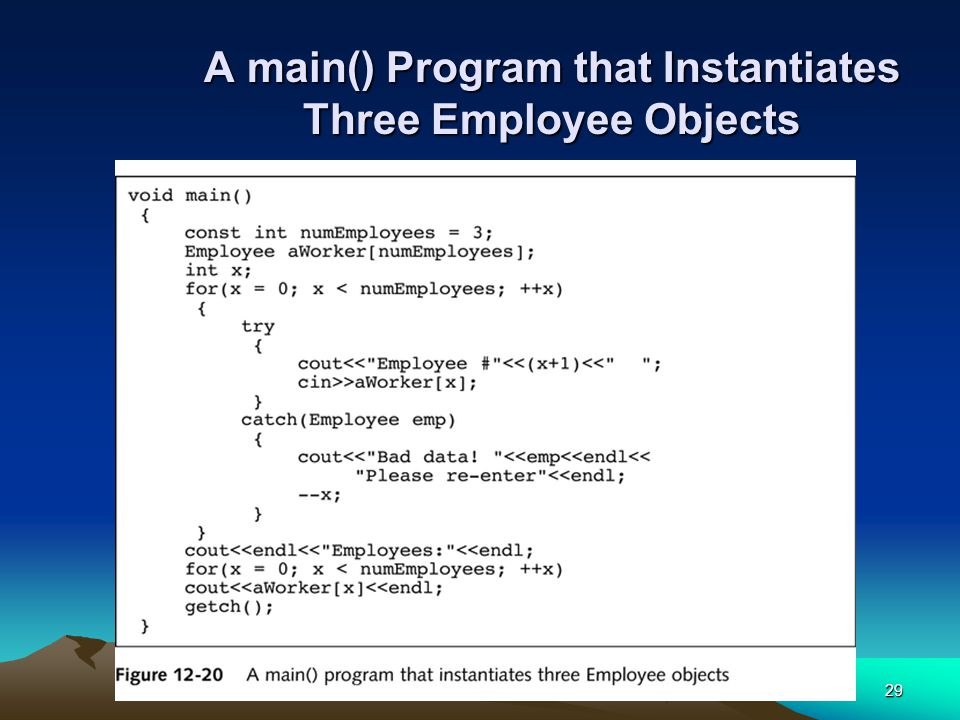 29 A main() Program that Instantiates Three Employee Objects