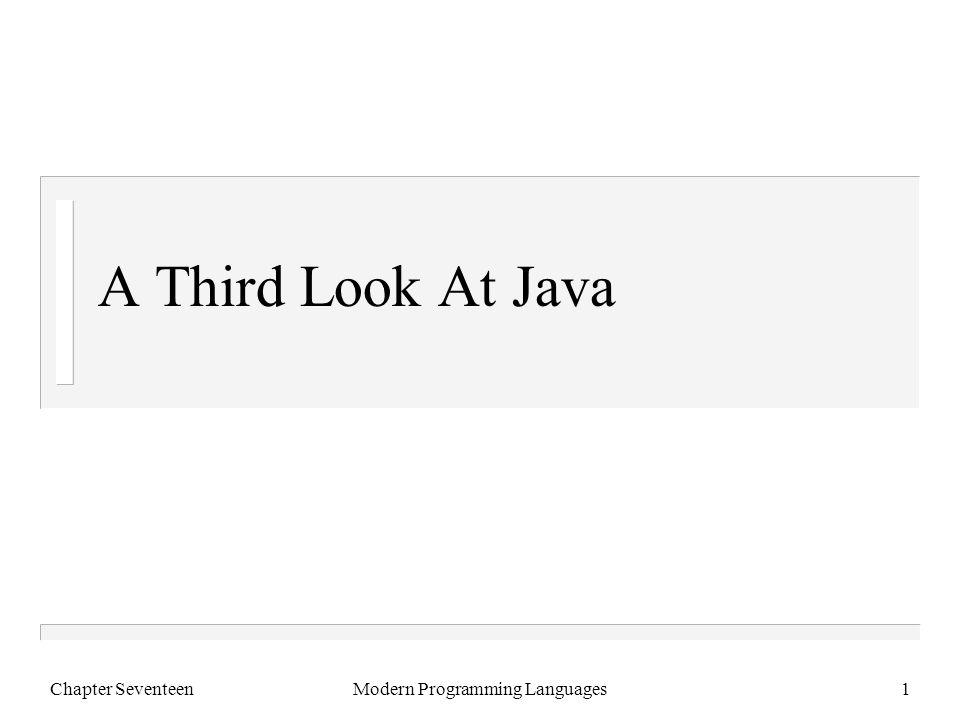 Chapter SeventeenModern Programming Languages2 A Little Demo public class Test { public static void main(String[] args) { int i = Integer.parseInt(args[0]); int j = Integer.parseInt(args[1]); System.out.println(i/j); } } > javac Test.java > java Test 6 3 2 >