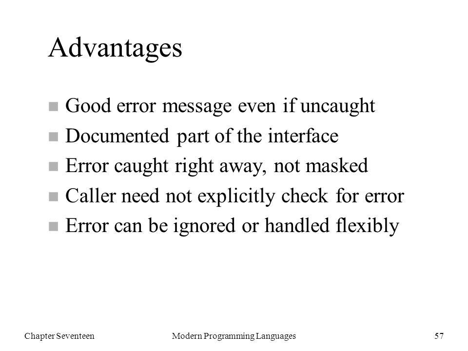 Chapter SeventeenModern Programming Languages58 Outline n 17.2 Throwable classes n 17.3 Catching exceptions n 17.4 Throwing exceptions n 17.5 Checked exceptions n 17.6 Error handling n 17.7 Finally n 17.8 Farewell to Java