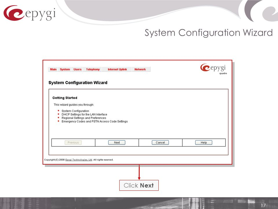 17 System Configuration Wizard Click Next