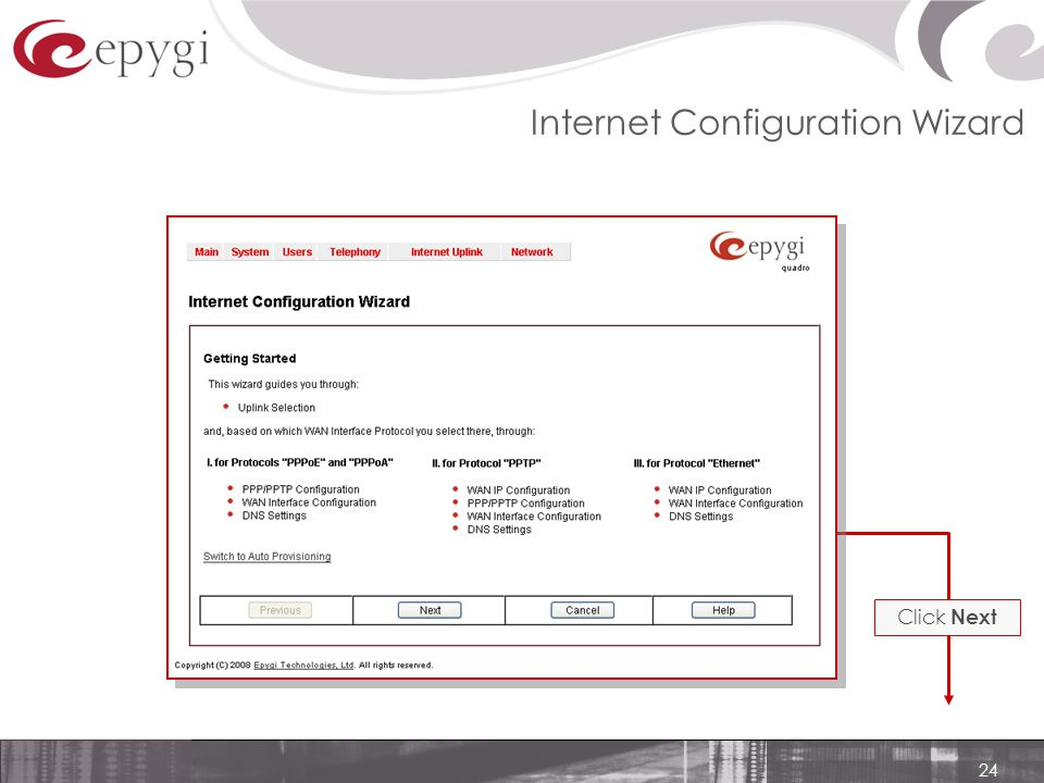 24 Internet Configuration Wizard Click Next