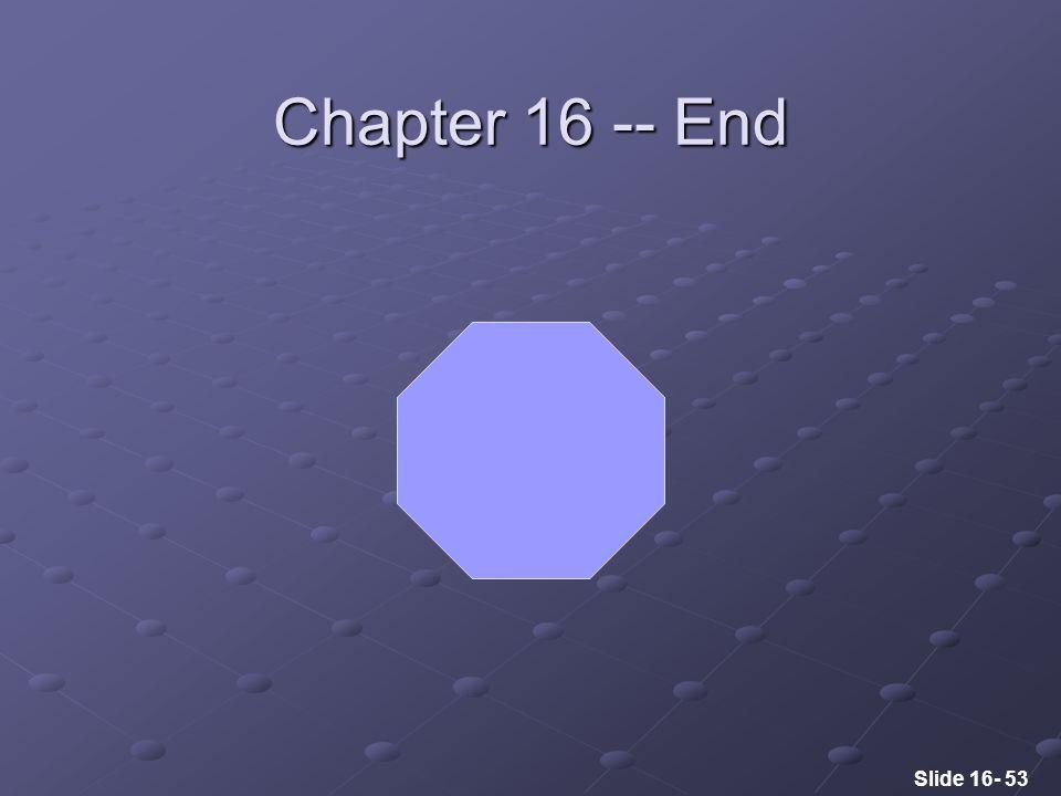Slide 16- 53 Chapter 16 -- End