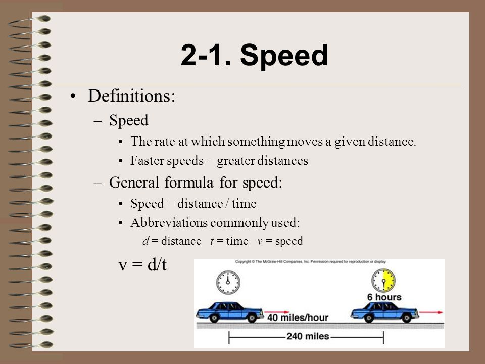 2-1. Speed Velocity Distance Time