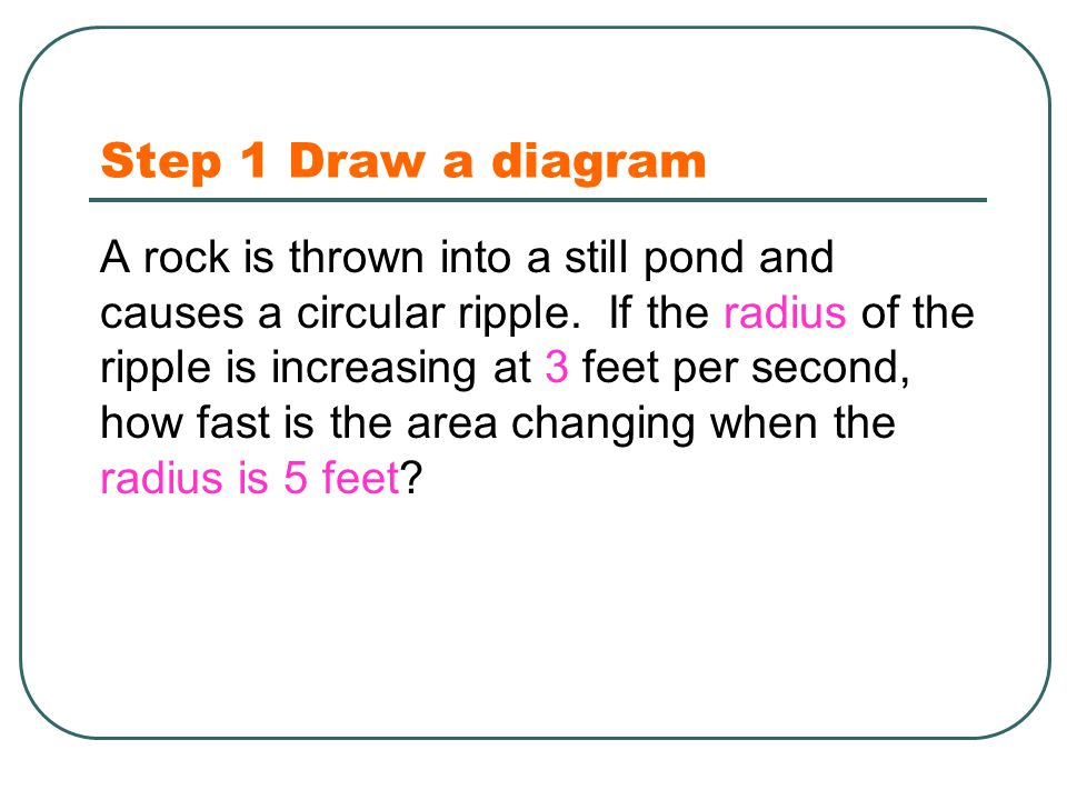 Step 1 Draw a diagram A rock is thrown into a still pond and causes a circular ripple.