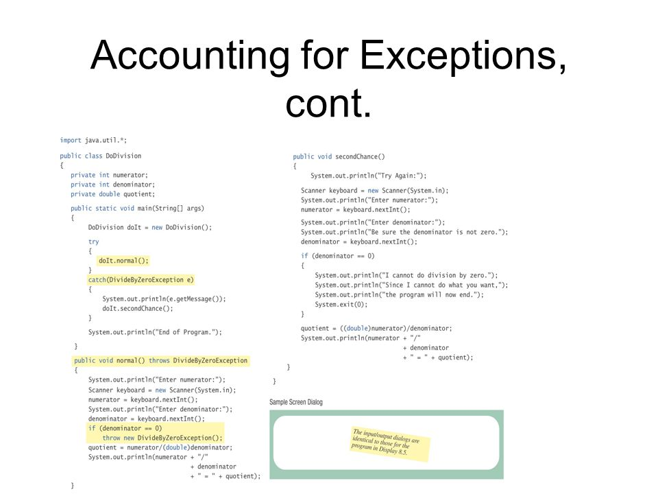 Accounting for Exceptions, cont.