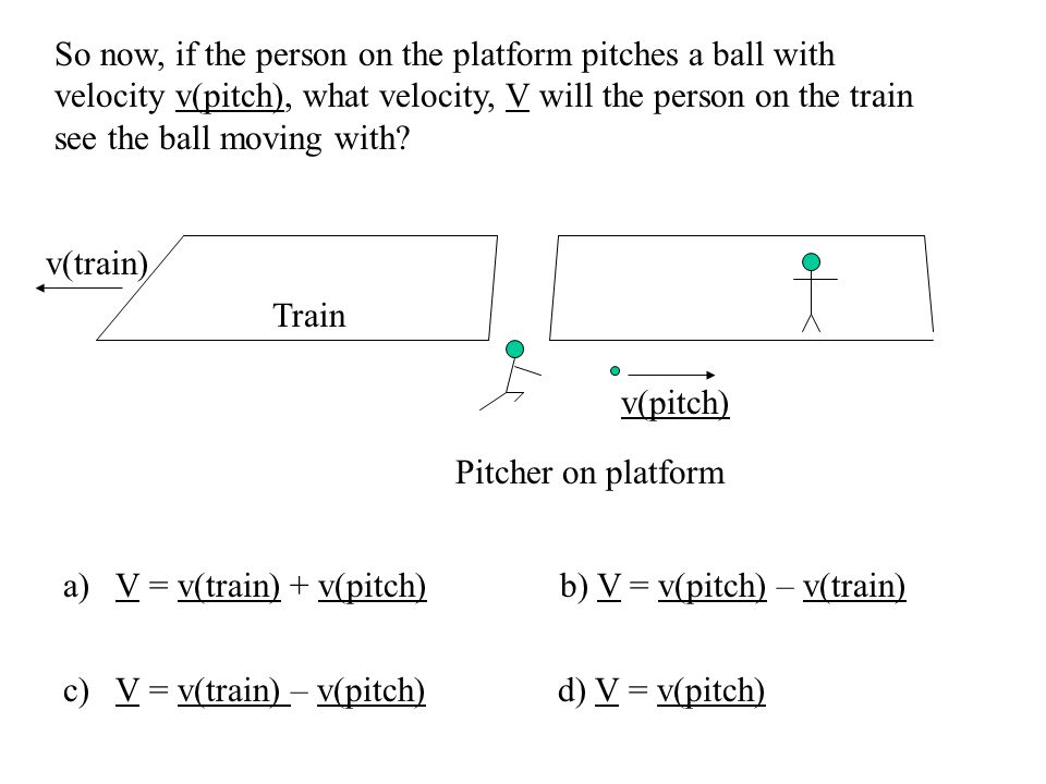 So now, if the person on the platform pitches a ball with velocity v(pitch), what velocity, V will the person on the train see the ball moving with.