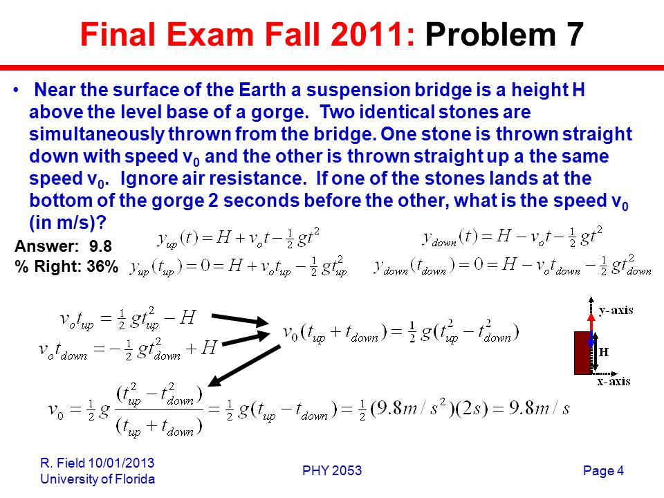 R. Field 10/01/2013 University of Florida PHY 2053Page 4 Final Exam Fall 2011: Problem 7 Near the surface of the Earth a suspension bridge is a height