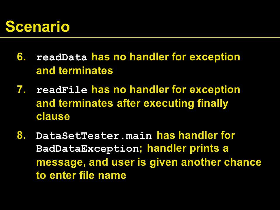 Scenario 6. readData has no handler for exception and terminates 7. readFile has no handler for exception and terminates after executing finally claus