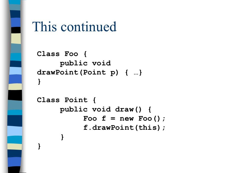 This continued Class Foo { public void drawPoint(Point p) { …} } Class Point { public void draw() { Foo f = new Foo(); f.drawPoint(this); }