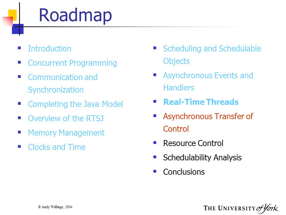 © Andy Wellings, 2004 Roadmap  Introduction  Concurrent Programming  Communication and Synchronization  Completing the Java Model  Overview of the RTSJ  Memory Management  Clocks and Time  Scheduling and Schedulable Objects  Asynchronous Events and Handlers  Real-Time Threads  Asynchronous Transfer of Control  Resource Control  Schedulability Analysis  Conclusions