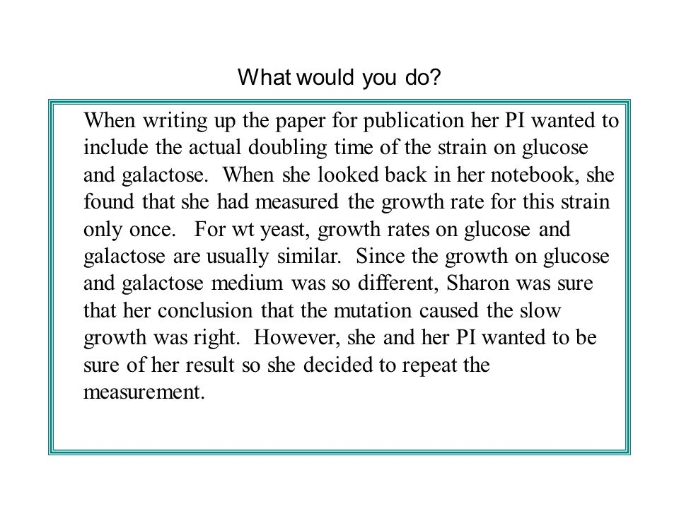 What would you do? When writing up the paper for publication her PI wanted to include the actual doubling time of the strain on glucose and galactose.