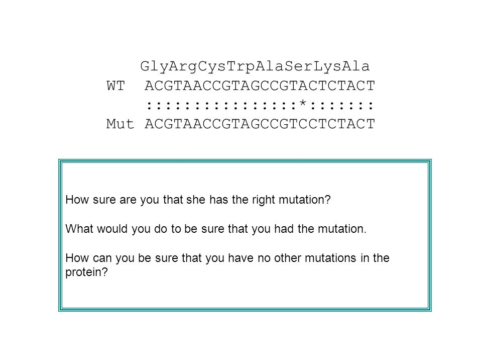 How sure are you that she has the right mutation.