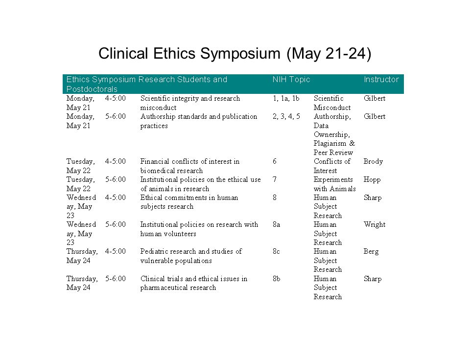 Clinical Ethics Symposium (May 21-24)