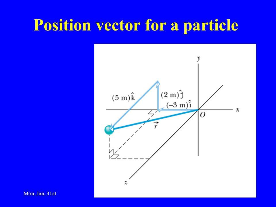Mon. Jan. 31st2 Position vector for a particle