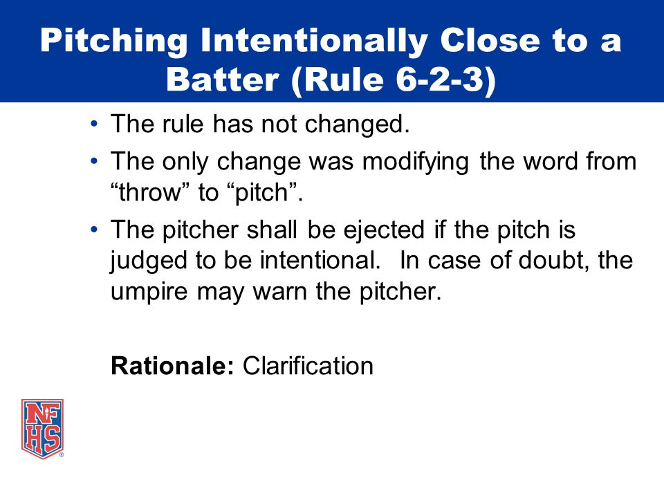 """Pitching Intentionally Close to a Batter (Rule 6-2-3) The rule has not changed. The only change was modifying the word from """"throw"""" to """"pitch"""". The pi"""
