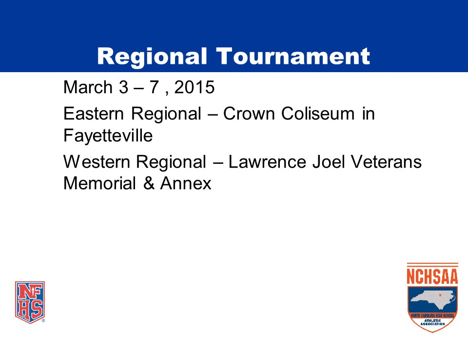 March 3 – 7, 2015 Eastern Regional – Crown Coliseum in Fayetteville Western Regional – Lawrence Joel Veterans Memorial & Annex Regional Tournament