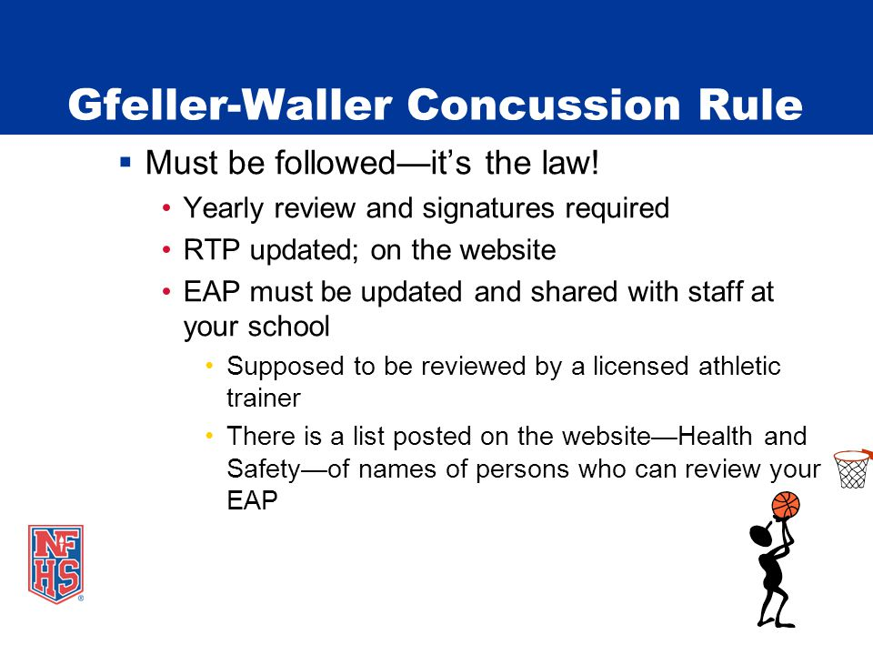 Gfeller-Waller Concussion Rule  Must be followed—it's the law.