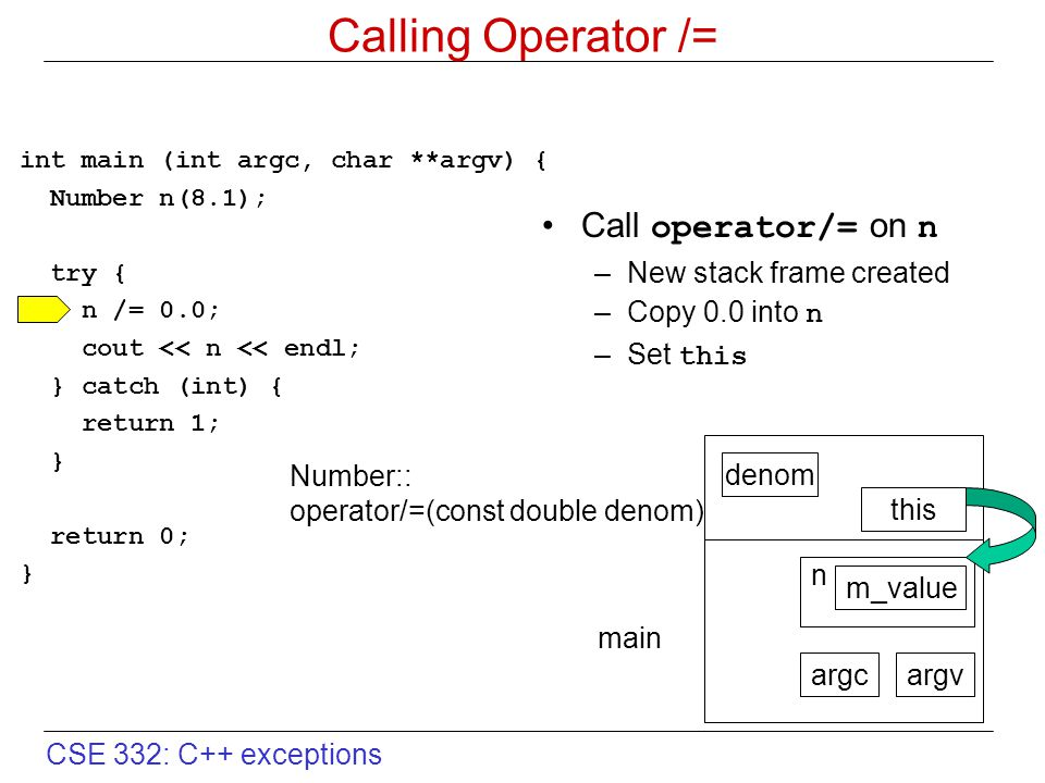 CSE 332: C++ exceptions Calling Operator /= int main (int argc, char **argv) { Number n(8.1); try { n /= 0.0; cout << n << endl; } catch (int) { retur