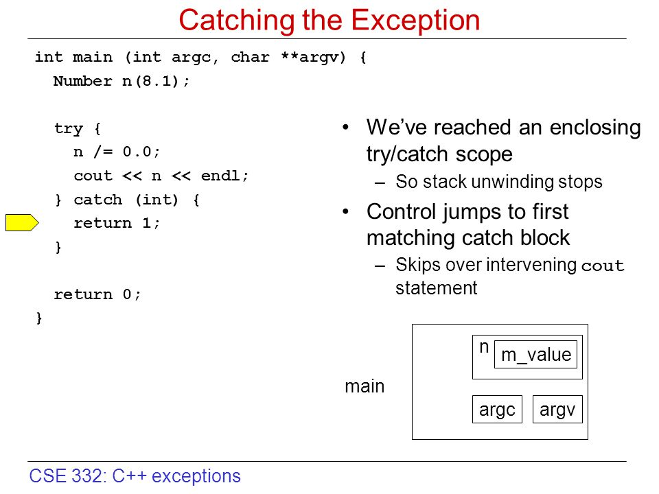 CSE 332: C++ exceptions Catching the Exception int main (int argc, char **argv) { Number n(8.1); try { n /= 0.0; cout << n << endl; } catch (int) { return 1; } return 0; } We've reached an enclosing try/catch scope –So stack unwinding stops Control jumps to first matching catch block –Skips over intervening cout statement argcargv n m_value main