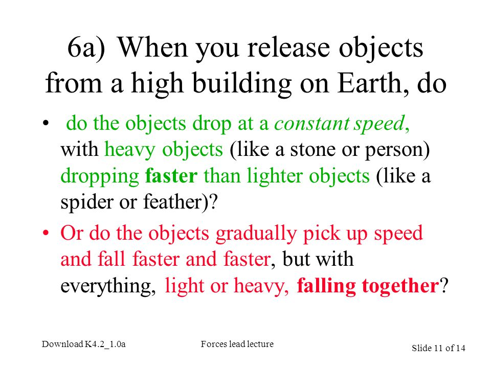 Slide 11 of 14 Download K4.2_1.0aForces lead lecture 6a)When you release objects from a high building on Earth, do do the objects drop at a constant s