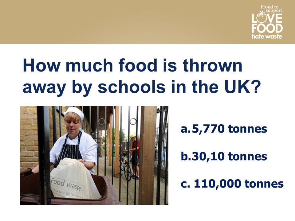 How much food is thrown away by schools in the UK.