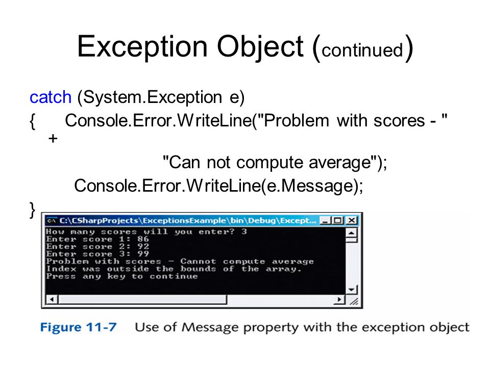 Exception Object ( continued ) catch (System.Exception e) { Console.Error.WriteLine(