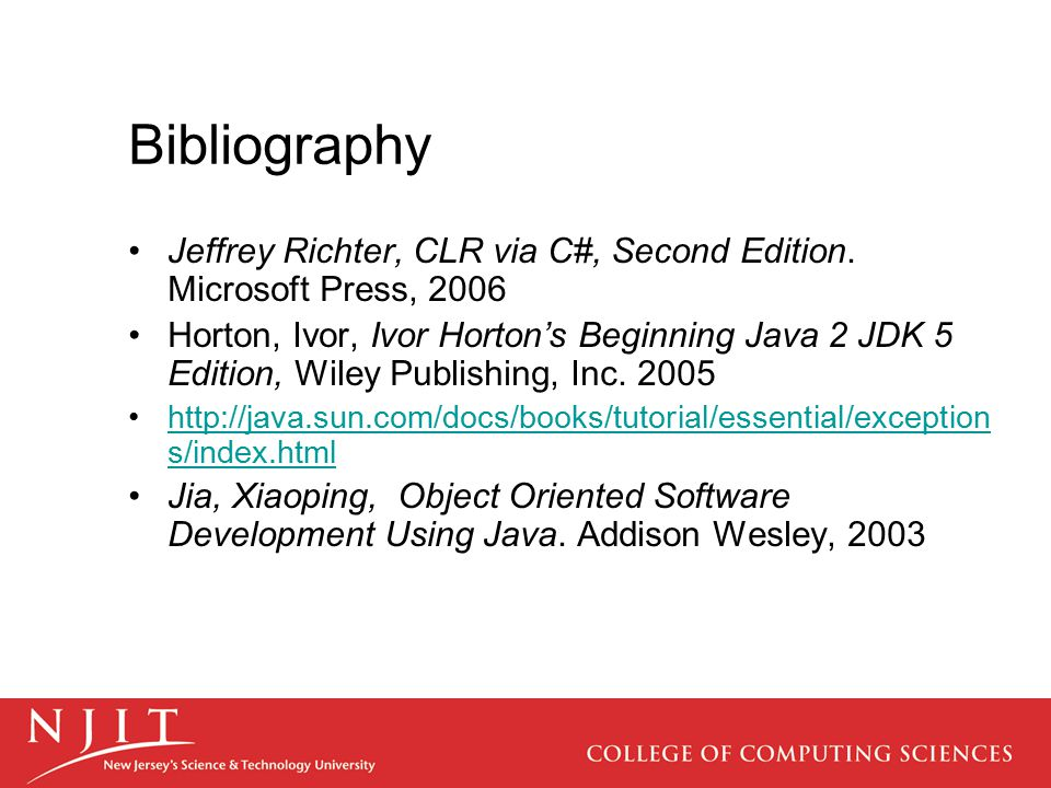 Bibliography Jeffrey Richter, CLR via C#, Second Edition.
