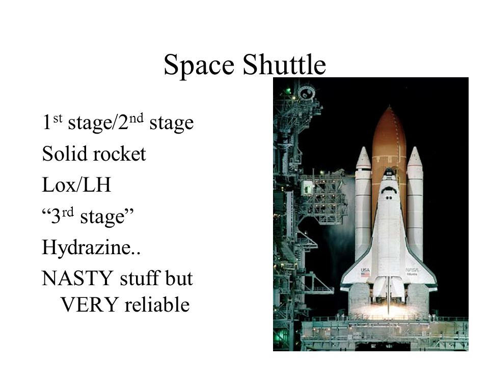 Space Shuttle 1 st stage/2 nd stage Solid rocket Lox/LH 3 rd stage Hydrazine..
