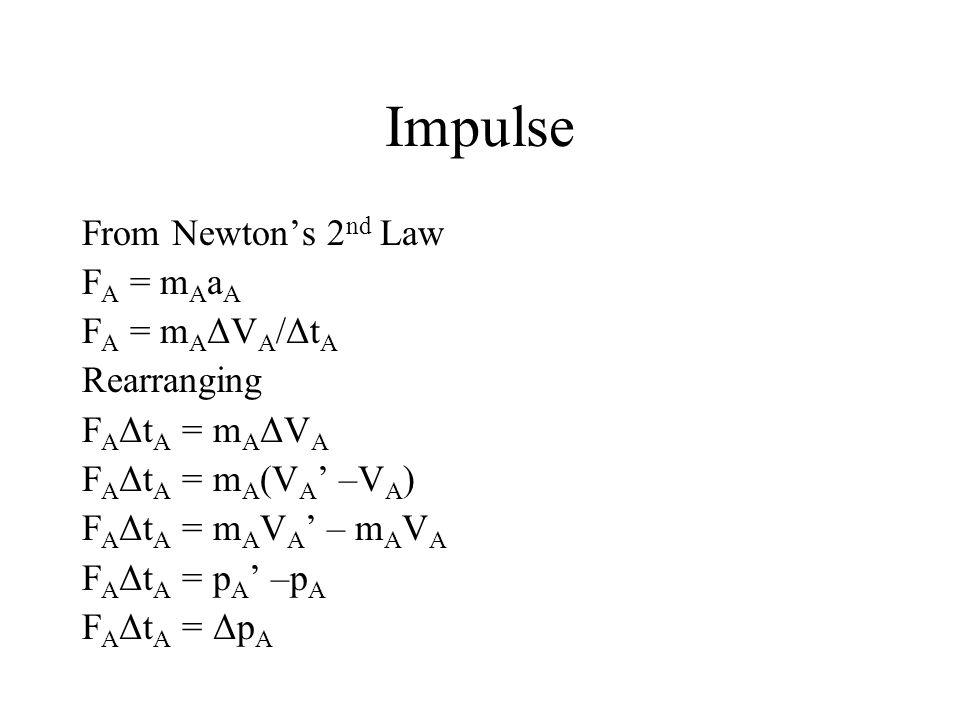 Impulse From Newton's 2 nd Law F A = m A a A F A = m A ΔV A /Δt A Rearranging F A Δt A = m A ΔV A F A Δt A = m A (V A ' –V A ) F A Δt A = m A V A ' –